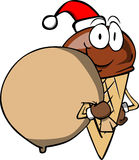 Ice cream cone as Santa Claus with a big sack Stock Images
