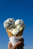 Ice cream cone at blue sky Stock Photo