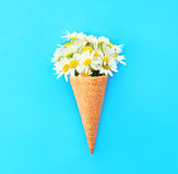 Ice cream cone with chamomiles flowers over blue colorful Stock Photography