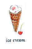 Ice cream cone with cherry Stock Images