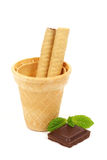 Ice cream cone and chocolate Royalty Free Stock Image
