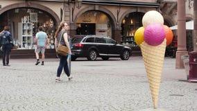 Ice-cream cone in city Strasbourg stock video footage