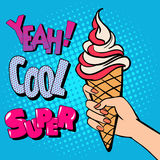 Ice Cream Cone with Comic Style Typography. Pop Art. Vector illustration royalty free stock photos