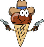 Ice cream cone cowboy with gun Stock Images