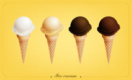 Ice cream in the cone, Different flavors, Vector. Eps10 Royalty Free Stock Photos