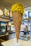 Ice cream cone display. On a counter of a ice cream shop royalty free stock image
