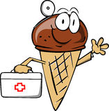 Ice cream cone doctor with first aid kit Royalty Free Stock Photos