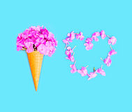 Ice cream cone with flowers and heart shape of petals over blue Royalty Free Stock Images
