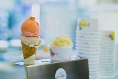 Ice Cream on Cone With Gray Metallic Holder Photo royalty free stock image