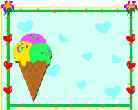 Ice Cream Cone with Hearts and Flowers Frame. This colorful heart and flower frame surrounds a sweet ice cream cone Stock Image
