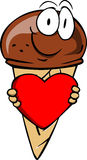 Ice cream cone holding a big red heart Royalty Free Stock Photos