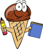 Ice cream cone holding a book and a pencil Royalty Free Stock Images
