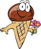 Ice cream cone holding a bunch of flowers Stock Images