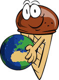 Ice cream cone holding Earth Stock Image
