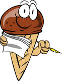 Ice cream cone holding pen and papers Stock Image