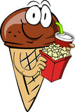Ice cream cone holding popcorn and soft drink Stock Images