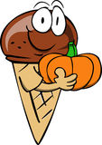 Ice cream cone holding pumpkin Royalty Free Stock Photography