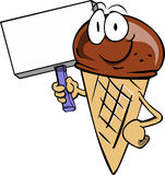 Ice cream cone holding sign Royalty Free Stock Photo
