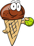 Ice cream cone holding a tennis ball Royalty Free Stock Photo