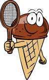 Ice cream cone holding a tennis rocket Royalty Free Stock Image