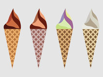 Ice cream cone , ice cream sundae, kinds of ice cream, chocolate ice cream cone. Vector Stock Image