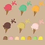 Ice cream cone with many kind of color Stock Images