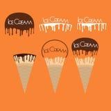 Ice Cream Cone with Melt Chocolate Logo. Vector Stock Photo