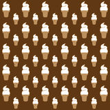 Ice cream cone pattern. On brown background vector Royalty Free Stock Photo