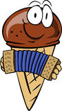Ice cream cone playing accordion Royalty Free Stock Image