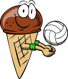 Ice cream cone playing volleyball Stock Photo