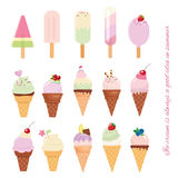Ice cream cone and popsicle set  on white. Stock Photos