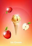 Ice cream in the cone, Pour apple syrup and a lot of apple background, illustration Vector. Eps10 Stock Photo