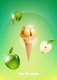 Ice cream in the cone, Pour green apple syrup and a lot of green apple background, illustration Vector. Eps10 Royalty Free Stock Image