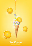 Ice cream in the cone, Pour lemon syrup and a lot of lemon background, transparent Vector Royalty Free Stock Images