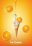 Ice cream in the cone, Pour orange syrup and a lot of orange background, transparent Vector Stock Image
