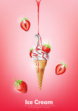 Ice cream in the cone, Pour strawberry syrup and a lot of strawberry background, transparent Vector Royalty Free Stock Photography