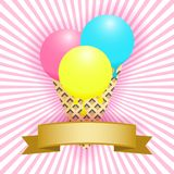 Ice cream cone and ribbon banner. Vector illustration EPS10 Royalty Free Stock Image