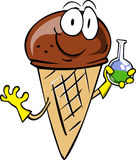 Ice cream cone scientist holds beaker of chemicals Royalty Free Stock Images