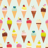 Ice cream cone seamless pattern background. Realistic. Bright and pastel colors. For print and web. Royalty Free Stock Photography