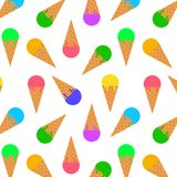 Ice cream cone seamless pattern background. Realistic. Different colors. For print and web. Stock Image