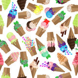 Ice cream cone seamless pattern. Flake and scoops of ice cream background. Endless ice cream cone and flake pattern Stock Photos