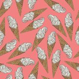 Ice cream cone seamless pattern with outlines. Vector illustration on pastel pink background. Ice cream cone seamless pattern with outlines. Vector illustration Royalty Free Stock Photography