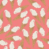 Ice cream cone seamless pattern. Vector illustration on pastel pink background. Ice cream cone seamless pattern. Vector illustration for summer on pastel pink Stock Photos