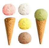 Ice cream cone set isolated Stock Images