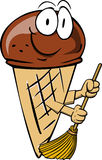Ice cream cone sweeping with broom Royalty Free Stock Photos