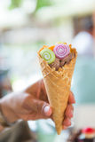 Ice cream cone with topping Stock Image