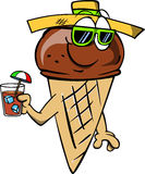 Ice cream cone tourist holding a drink Royalty Free Stock Image
