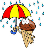 Ice cream cone with umbrella Stock Photos
