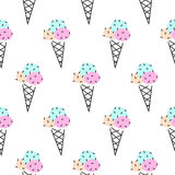 Ice cream cone vector seamless pattern. Pop art pink and black. Stock Photo