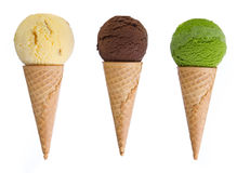 Ice cream. With cone on white background Stock Photos
